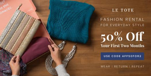Le Tote 50% Off First 2 Months Coupon