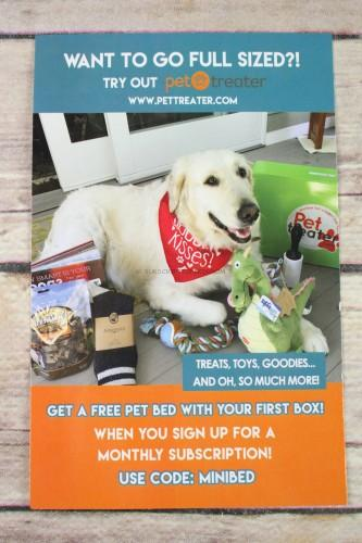 Pet Treater is a larger dog subscription by the same company. You can check out their reviews here. & Mini Monthly Dog Box of Awesome May 2017 Review - Only $10 ... Aboutintivar.Com