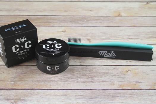 Molr Dental Club Carbon + Coconut Teeth Whitening Powder and Toothbrush