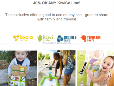Kiwi Co 40% Coupon for All Brands