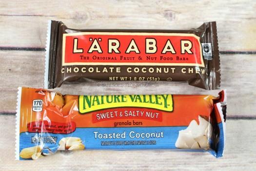 Larabar Chocolate Coconut Chew & Nature Valley Sweet & Salty Nut Tasted Coconut Bar