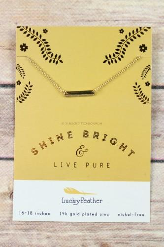 Lucky Feather Shine Bright Bar Necklace