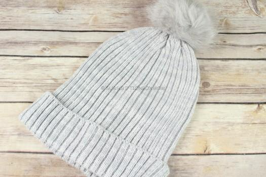 Hat Attack Lightweight Ribbed Hat with Faux Fur Pom