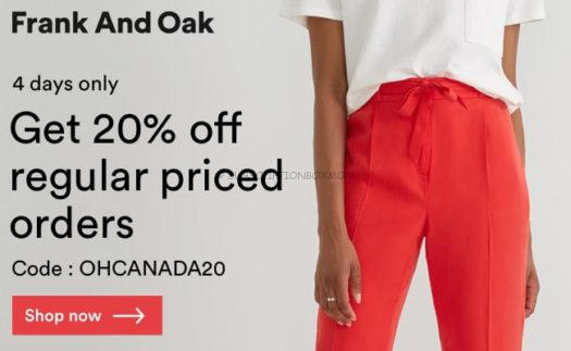 Frank + Oak Happy Canada Day! Coupon