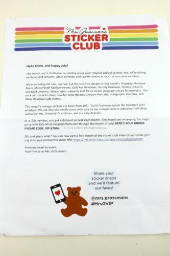 Mrs. Grossman's Sticker Club July 2018 Review