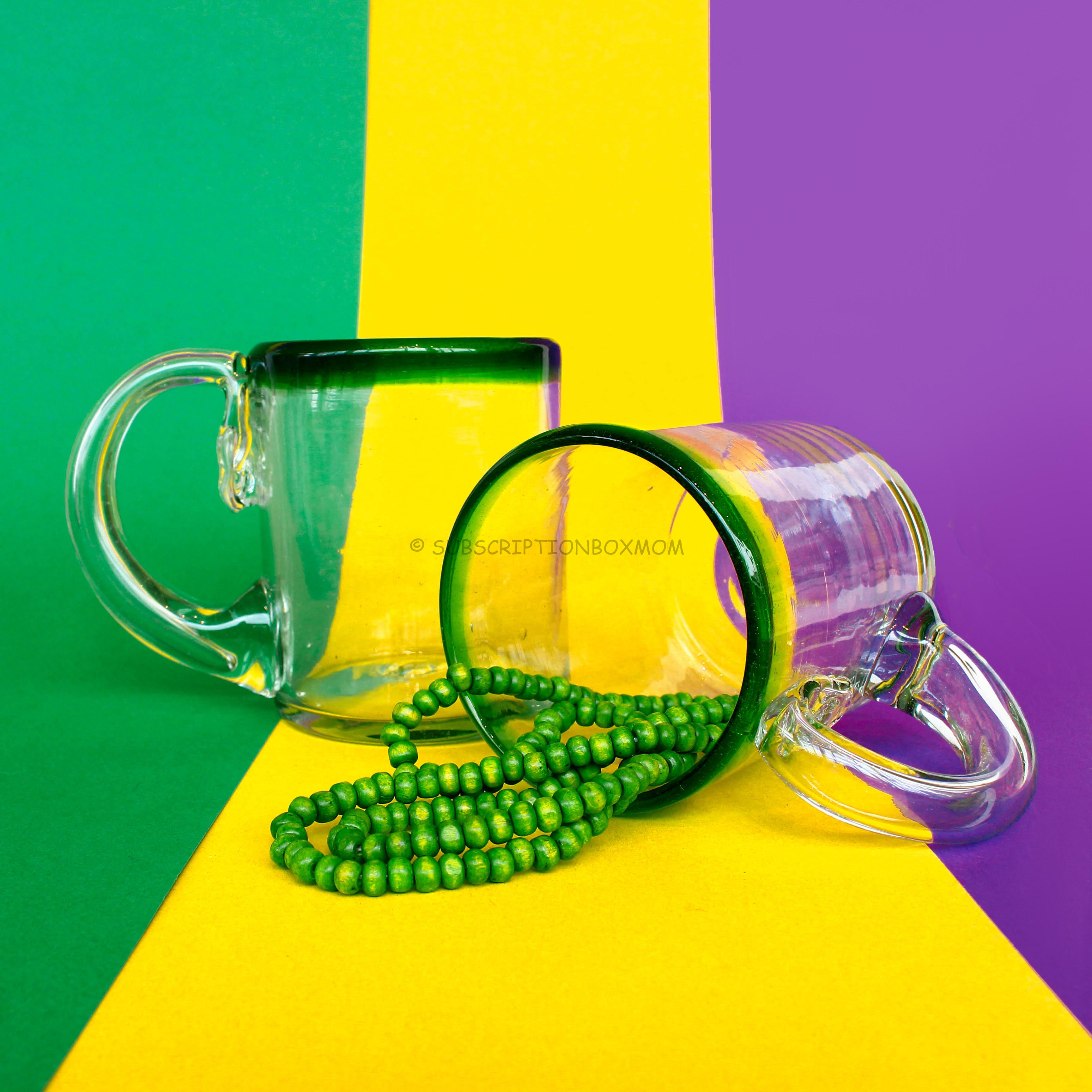 Green Rim Hand-Blown Glass with Handle