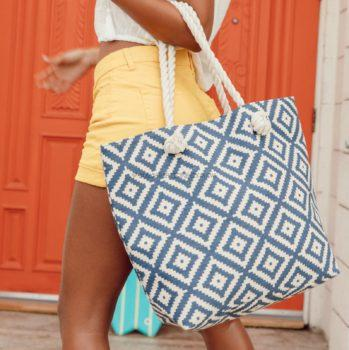 Summer and Rose Navy Diamond Tote
