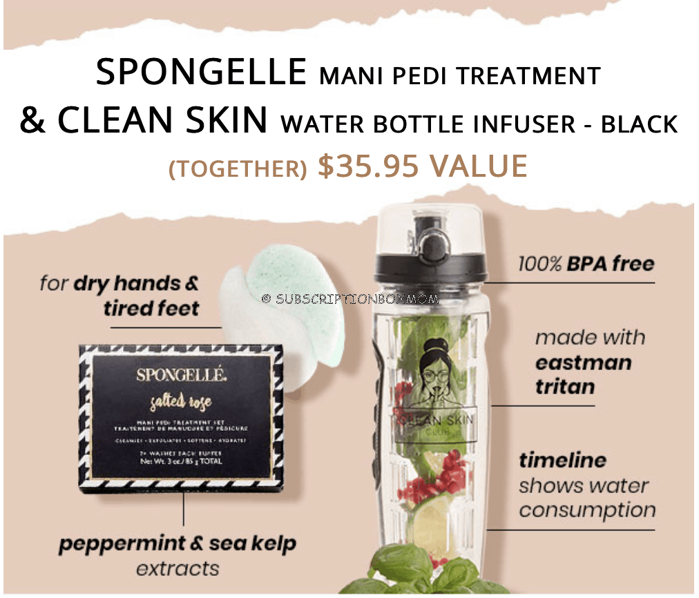 Spongelle Mani Pedi Treatment & Clean Skin Water Bottle Infuser - Black