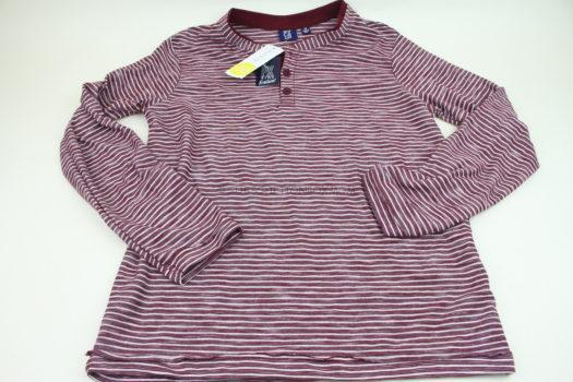 PX Michael Long Sleeve Striped Textured Henley Tee